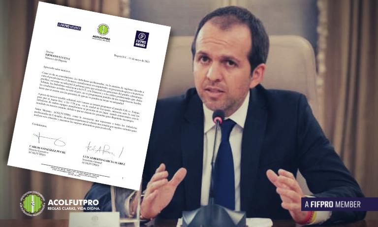Carta de ACOLFUTPRO al Ministro del Deporte