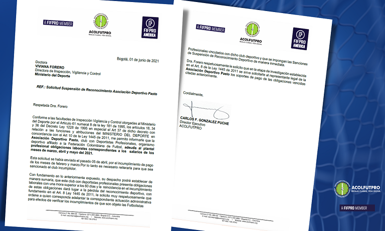 Solicitamos a MinDeporte que sancione al Deportivo Pasto por incumplir con el pago de sus obligaciones laborales